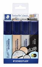 , Markeerstift Staedtler 364 Textsurfer vintage set à 4 stuks assorti