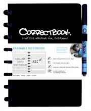 , Notitieboek Correctbook uitwisbaar en herbruikbaar A5 zwart lijn 40blz