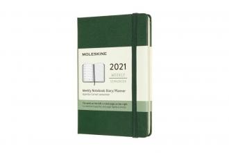 , Moleskine 12 MND Agenda - 2021 - Wekelijks - Pocket (9x14 cm) - Myrtle Groen - Harde Kaft