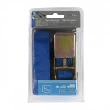 , Spanband ProPlus blauw met ratel en 2 haken 5m