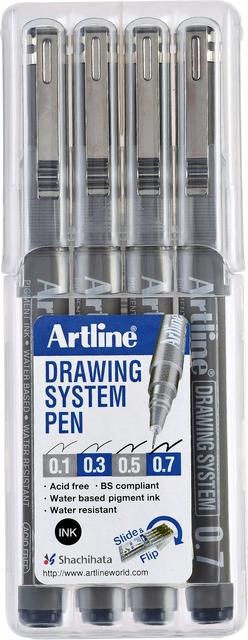 ,Fineliner Artline set met 0.1-0.3-0.5-0.7mm zwart