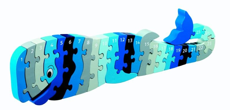 ,Houten puzzel Walvis - Leren tellen 1-25