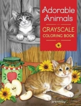 Maday, Jane Adorable Animals Grayscale Coloring Book