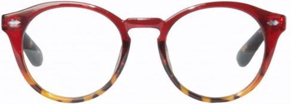 Qcr340,Leesbril icon clear burgundy to demi frame with demi temple 3.00