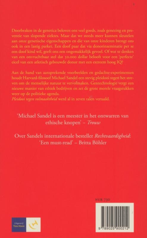 Michael J. Sandel,Pleidooi tegen volmaaktheid