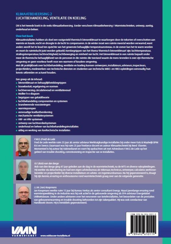 Fred de Lede, Rob van den Berge, Jan Koopmans,Klimaatbeheersing 2 luchtbehandeling, ventilatie en koeling