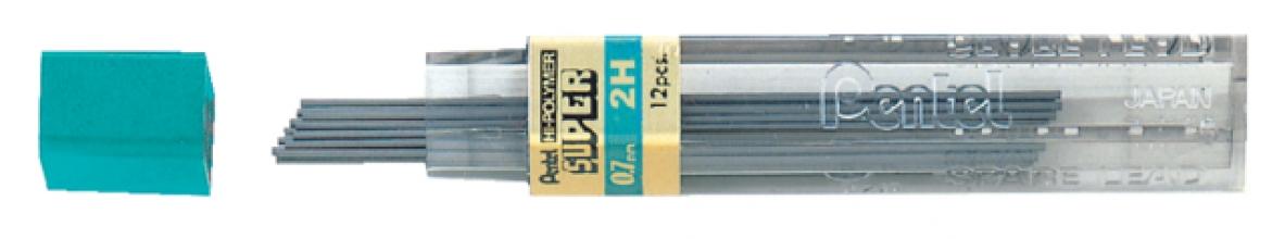 , Potloodstift Pentel 0.7mm zwart per koker 2H