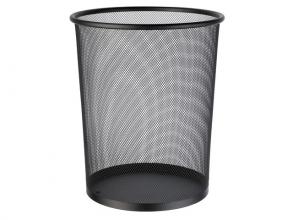 , papierbak Alco metaal 15l. zwart, geperforeerd metaal