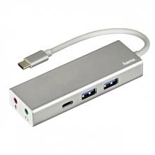, Hub Hama 3.1 USB-C naar USB-A + USB-C + 3,5mm-audio