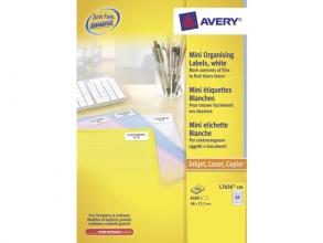 , laseretiket Avery 46x11,1mm wit 100 vel 84 etiketten per vel