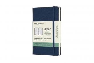 , Moleskine 18 MND Agenda - 2020/21 - Wekelijks Horizontaal - Pocket (9x14 cm) - Sapphire Blue - Harde Kaft