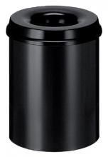 , Papierbak met vlamdover Vepabins 15liter 25.5cm zwart
