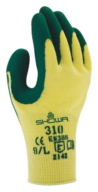 ,Handschoen Showa 310 grip latex S groen/geel