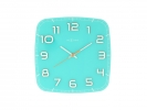 ,Wandklok NeXtime 30 x 30 x 3.5 cm, glas, turquoise, `Classy Square`