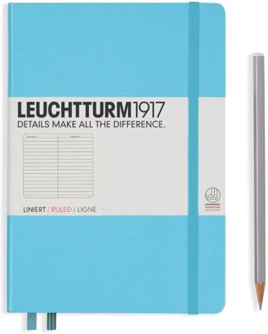 Lt357480,Leuchtturm notitieboek medium 145x210 lijn ijsblauw