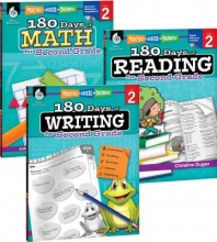 Teacher Created Materials 180 Days of Reading, Writing and Math for Second Grade 3-Book Set