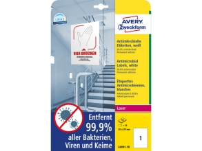 , Bedrukbaar antimicrobiëel etiket Zweckform 210x297mm, wit   10 etiketten, 10 vel, perm.