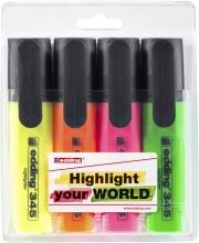 , Markeerstift edding 345 2-5mm blister à 4 kleuren