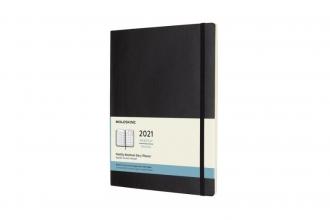 , Moleskine 12 MND Agenda - 2021 - Maandelijks - XL (13X25 cm) - Zwart - Zachte Kaft