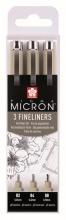 , Fineliner Sakura pigma micron blister 3 stuks zwart