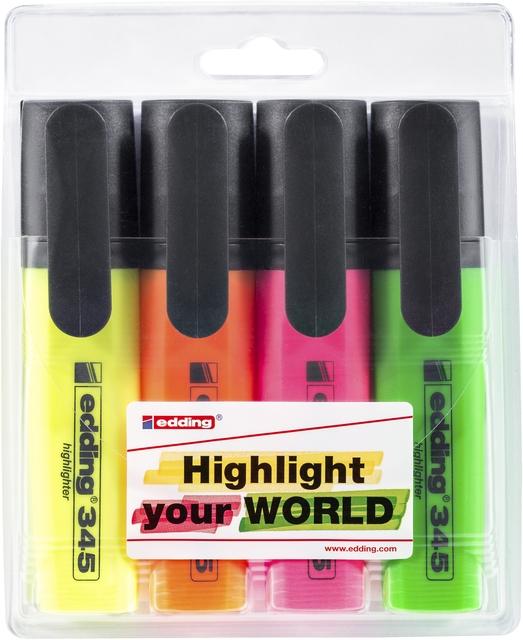 ,Markeerstift edding 345 2-5mm blister à 4 kleuren