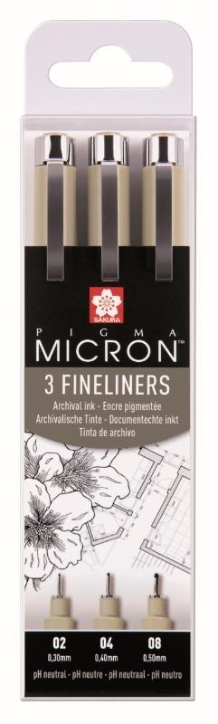 ,Fineliner Sakura pigma micron blister 3 stuks zwart