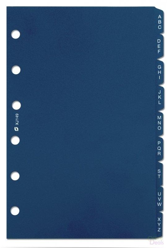 Xt149,St tabs alfabet plast blauw 9