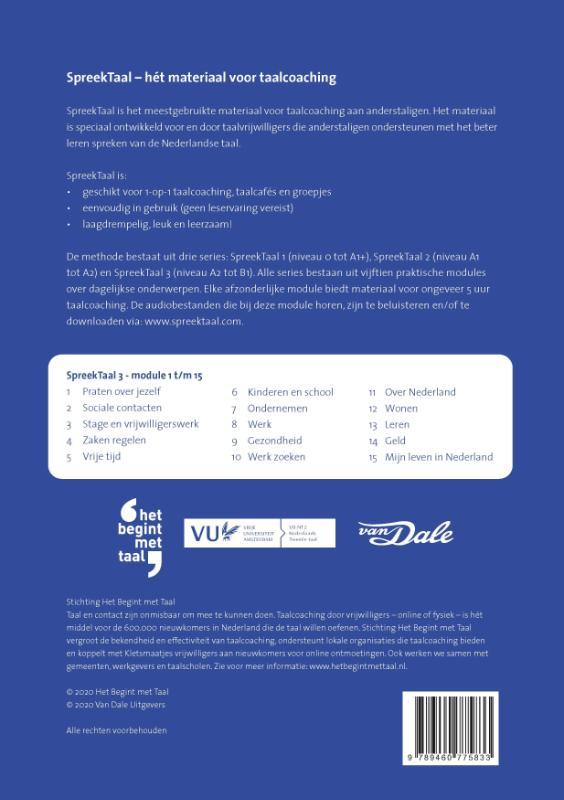 Stichting Het Begint met Taal & VU-NT2,SpreekTaal 3 - de complete serie (module 1 t/m 15)