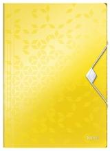 , Elastomap Leitz WOW A4 3 kleppen PP geel
