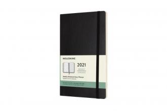 , Moleskine 12 MND Agenda - 2021 - Wekelijks - Large (13x21 cm) - Zwart - Zachte Kaft