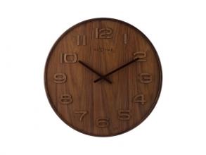 Wandklok NeXtime dia. 35 cm, hout, bruin, `Wood Wood Medium`