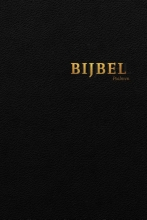 , Bijbel (HSV) met psalmen - zwart leer met goudsnee, rits en duimgrepen