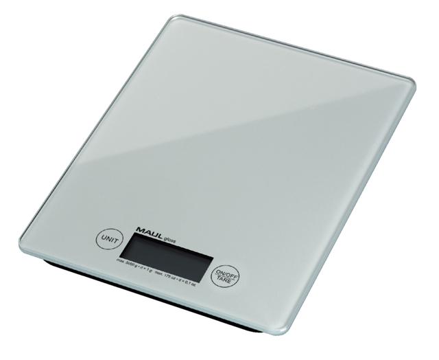 ,Briefweger MAUL Gloss tot 5000 gram wit glazen plateau incl.batterij
