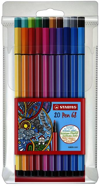 ,Viltstift STABILO Pen 68/20 etui à 20 kleuren