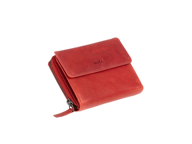 ,Portefeuille Mika rood Leer 13,5x10x2,5cm