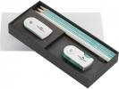 ,geschenkset FC Sparkle        met 3 potloden 1wit 2turquoise                              slijper en sleeve gum