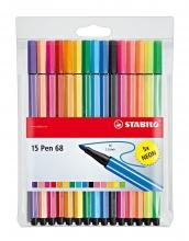 , Viltstift STABILO Pen 68 etui à 10+5 neon kleuren
