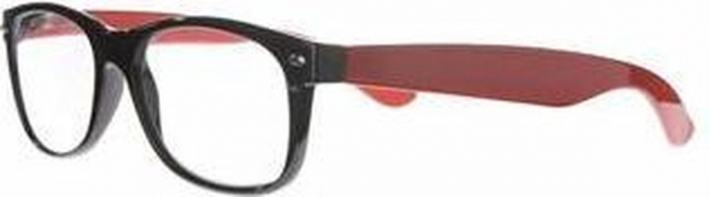 Ncr013 , Leesbril icon black front, fiery red  temples, silver detail 1.00