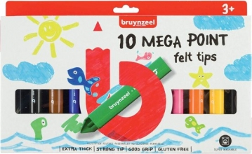 , Viltstift Bruynzeel Kids mega point blister à 10 stuks assorti