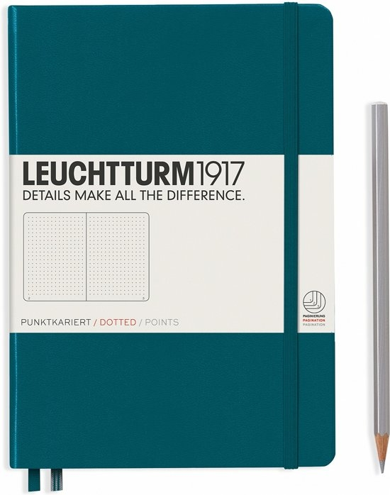 Lt359696,Leuchtturm notitieboek medium 145x210 dots/puntjes pacific blauwgroen