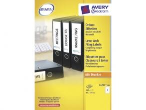 , ordnerrugetiket Avery 192x61mm wit 100 vel 4 etiketten per  vel