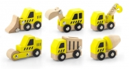 ,Werkverkeer, set van 6 houten speelauto`s
