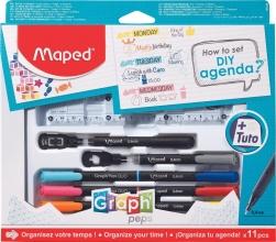 M975519 , Maped graph` peps met liniaal, fijnliners etc