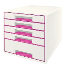 , Ladenblok Leitz WOW 5 laden wit/roze