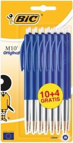 ,Balpen Bic M10 blauw medium blister à 10+4 gratis