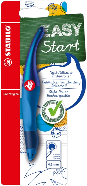 ,Rollerpen STABILO Easyoriginal rechtshandig blauw holograph edition blister