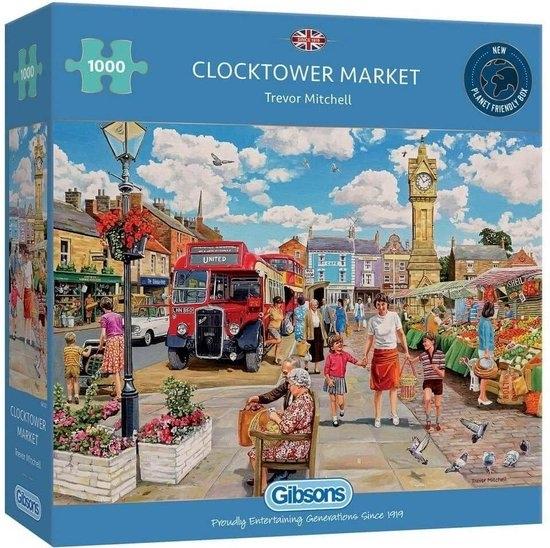 Gib-g6321,Puzzel clocktower market trevor mitchell gibsons 1000 stuks