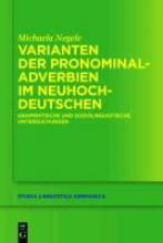 Michaela Negele Varianten Der Pronominaladverbien Im Neuhochdeutschen