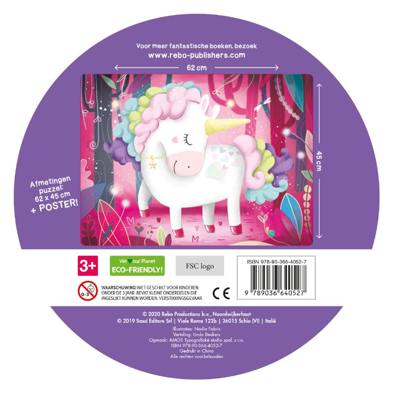 ,De magische unicorn - boek + giga puzzel