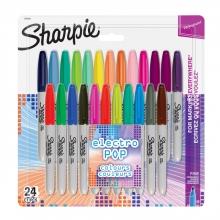 , Viltstift Sharpie Electro Pop rond 0.9mm blister à 24 kleuren